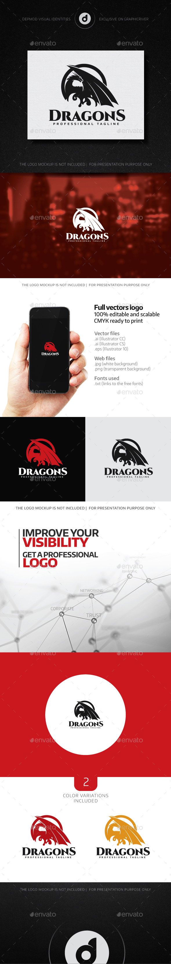 Dragons Logo - Animals Logo Templates