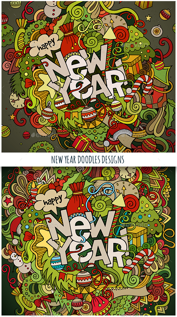 New Year Doodles Designs - New Year Seasons/Holidays