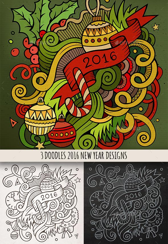 New Year Doodles Emblem Design - New Year Seasons/Holidays