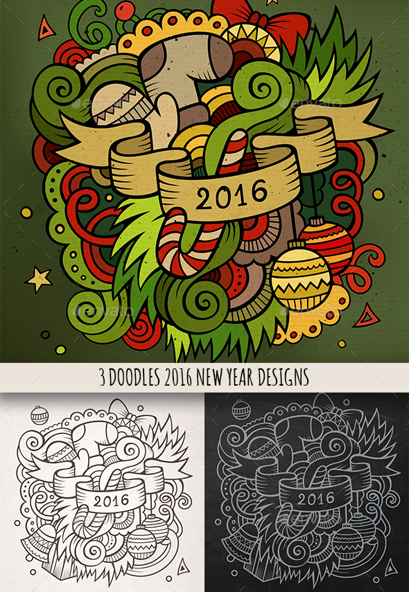 New Year Doodles Emblem Design - New Year Seasons/Holidays