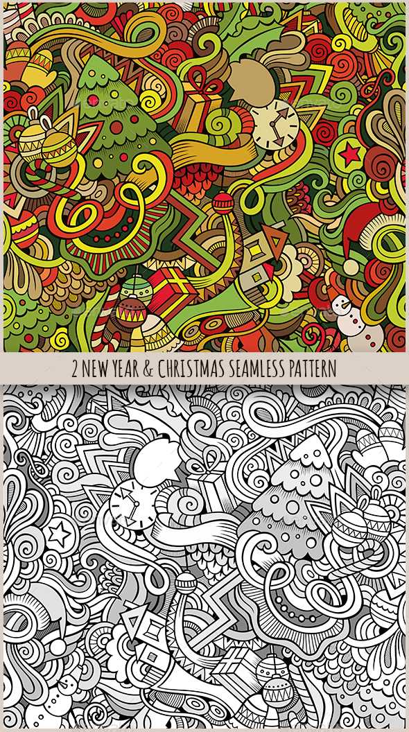2 New Year Doodles Seamless Pattern - Seasons/Holidays Conceptual