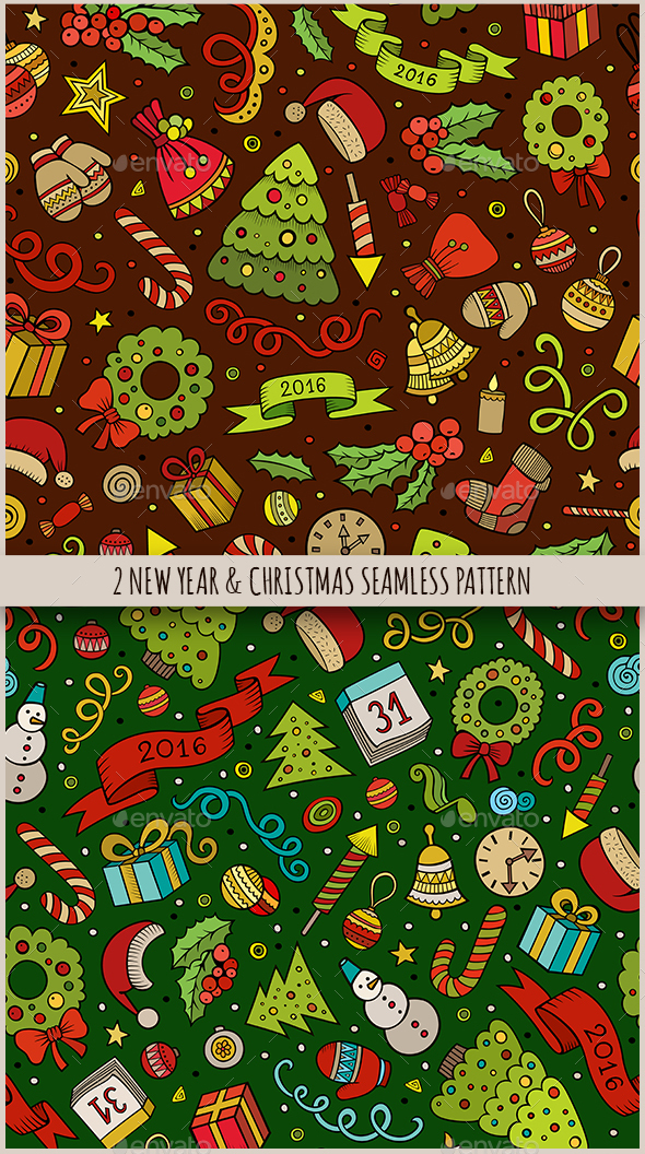 2 New Year Seamless Patterns - Seasons/Holidays Conceptual