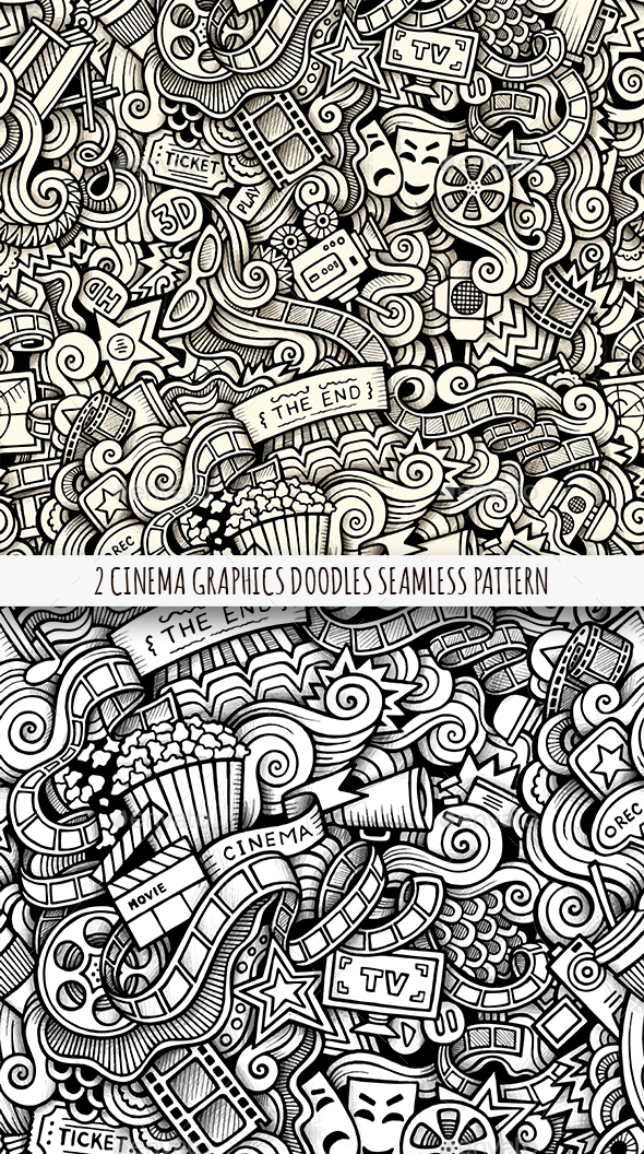 2 Cinema Doodles Graphics Seamless Patterns - Industries Business