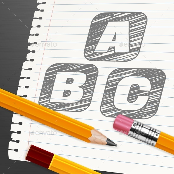 Pencils and Letters on Paper Sheet  - Miscellaneous Vectors