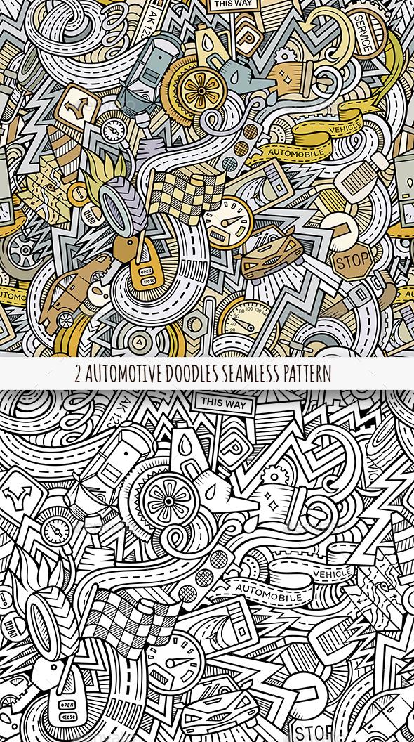 2 Automotive Doodles Seamless Pattern - Technology Conceptual