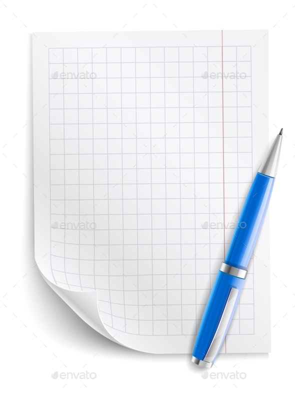 Blank Sheet of Paper with Grid and Pen - Miscellaneous Vectors