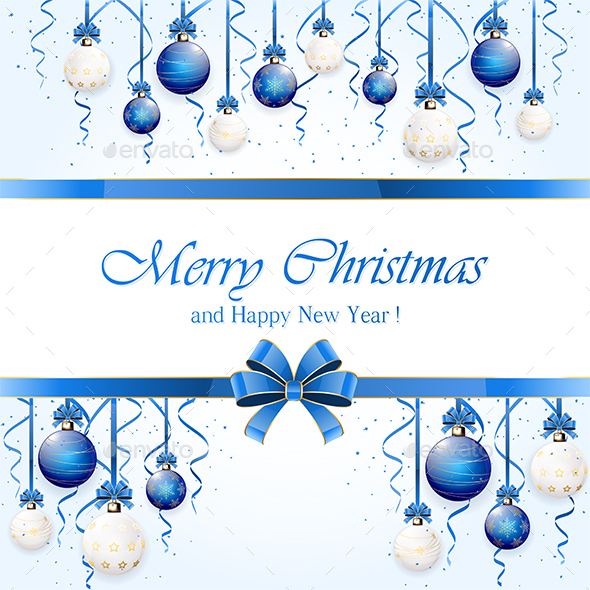 Blue Background with Christmas Balls - Christmas Seasons/Holidays