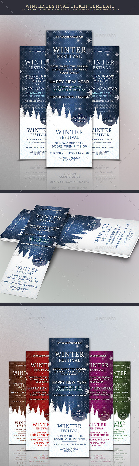 Winter Festival Ticket Template - Miscellaneous Print Templates