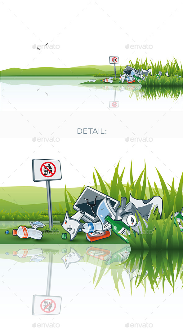 Trash in the Nature Water Littering Waste - Nature Conceptual