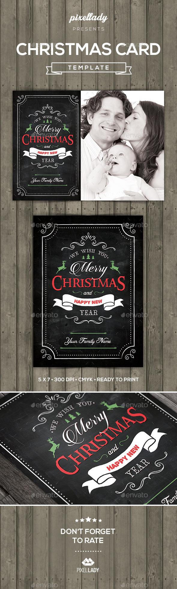 Christmas Chalkboard Greeting Card - Holiday Greeting Cards