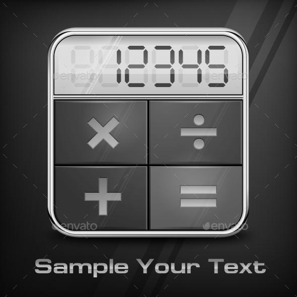 Pocket Calculator on Black - Miscellaneous Vectors