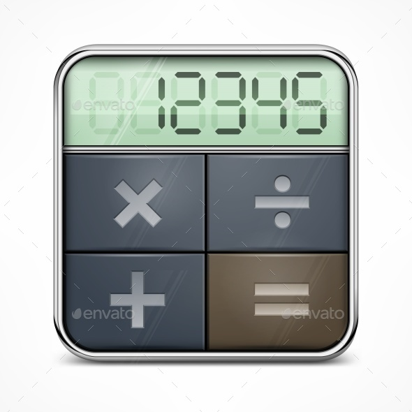 Pocket Calculator on White - Miscellaneous Vectors