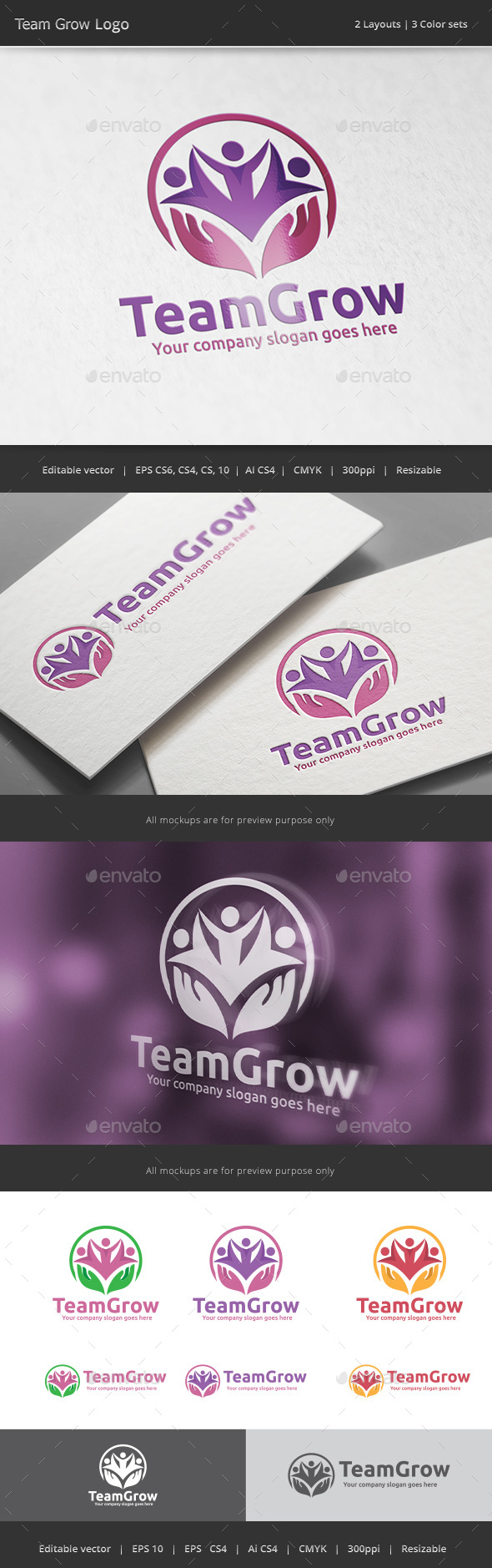Team Grow People Logo - Vector Abstract
