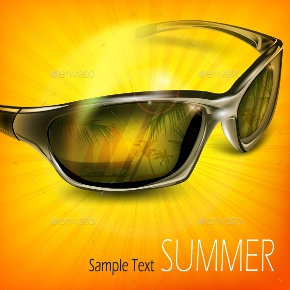 Sunglasses with Reflection on Yellow - Miscellaneous Vectors