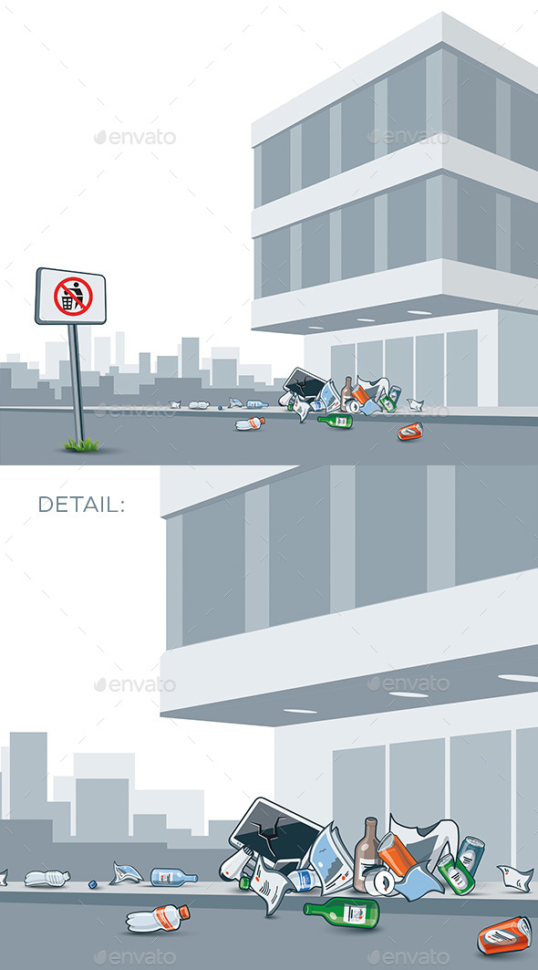 Trash Littering the City Street - Buildings Objects