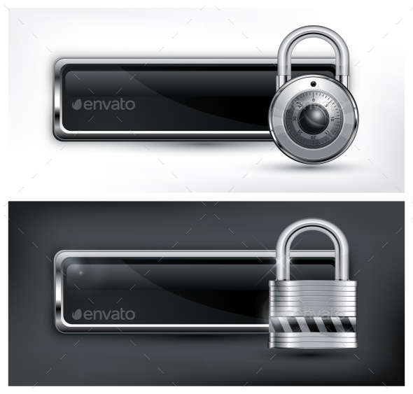 Padlock Icon on Black  - Miscellaneous Vectors