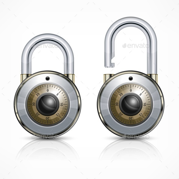Two Round Padlock on White - Miscellaneous Vectors