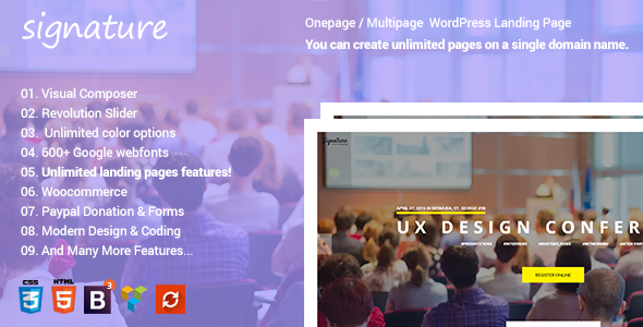 Signature – Responsive Onepage | Multipage Conference Event  WordPress Theme