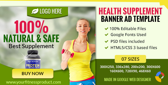 GWD | Health Supplement Banner - 7 Sizes - CodeCanyon Item for Sale