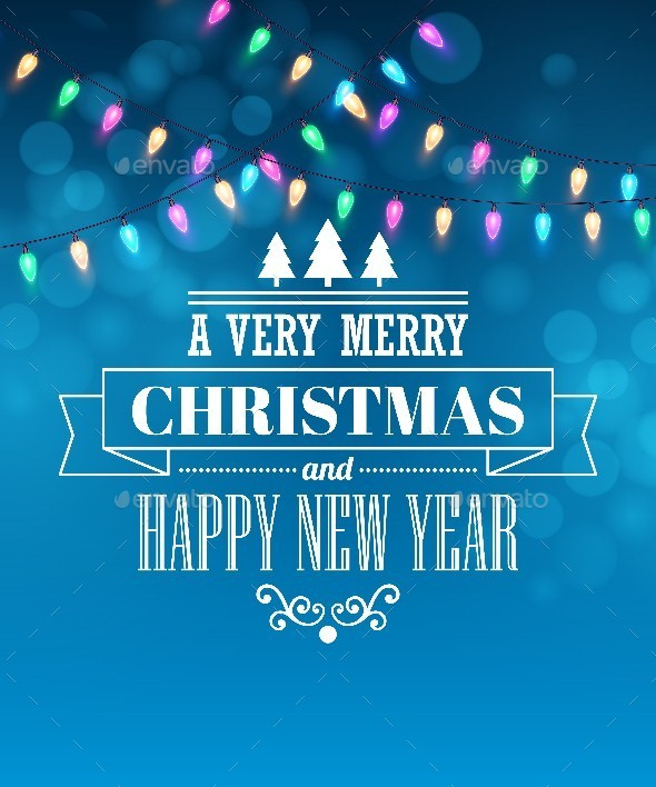 Christmas Light Tipography Poster - Christmas Seasons/Holidays