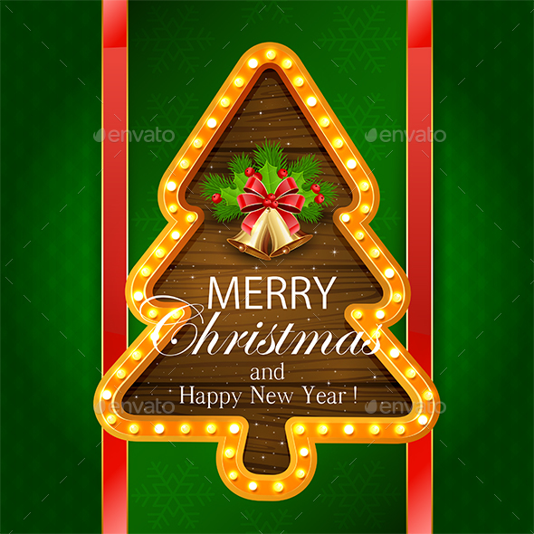 Christmas Banner with Bells on Green Background - Christmas Seasons/Holidays