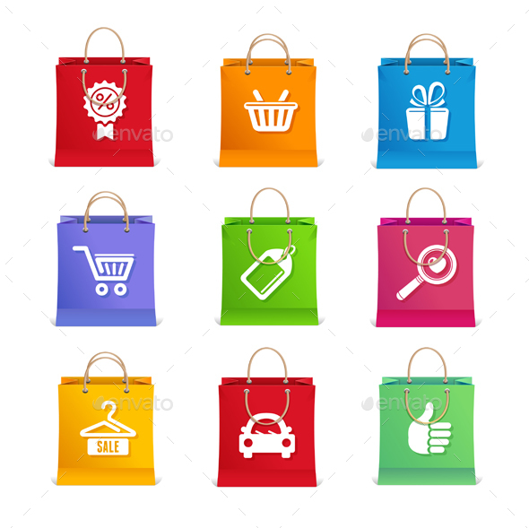 Shopping Icon Set on Shopping Bag - Retail Commercial / Shopping