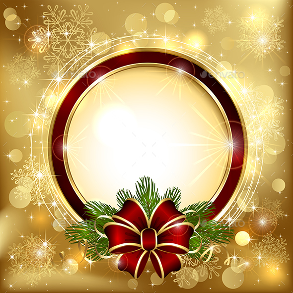Christmas Decoration on Golden Background - Christmas Seasons/Holidays