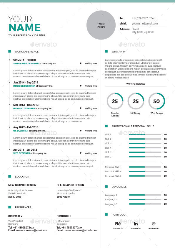 clean resume vol 5 by paolo6180 graphicriver