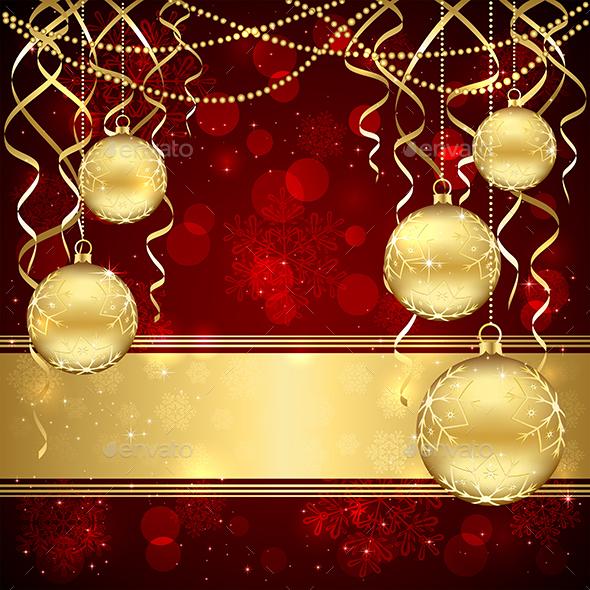 Christmas Decoration with Golden Balls - Christmas Seasons/Holidays