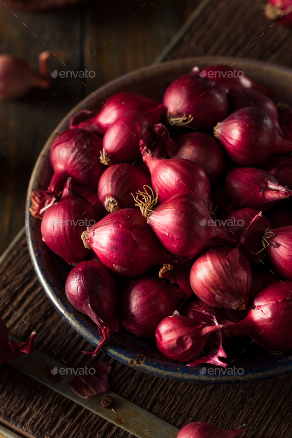 Organic Red Pearl Onions - Stock Photo - Images
