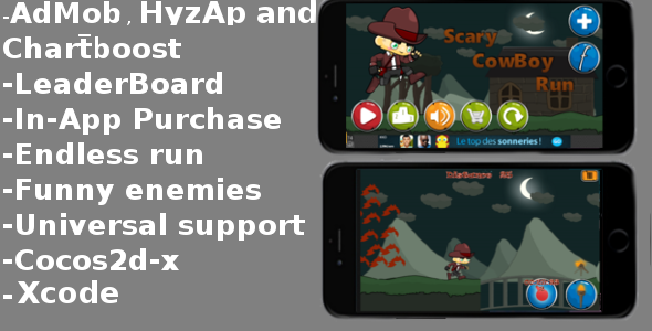 Scary Cowboy Run - AdMob-Chartboost-LeaderBoard - CodeCanyon Item for Sale
