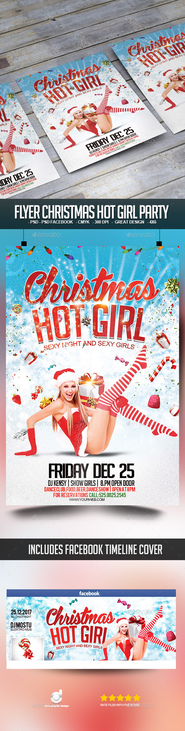 Flyer Christmas Hot Girl Party - Clubs & Parties Events