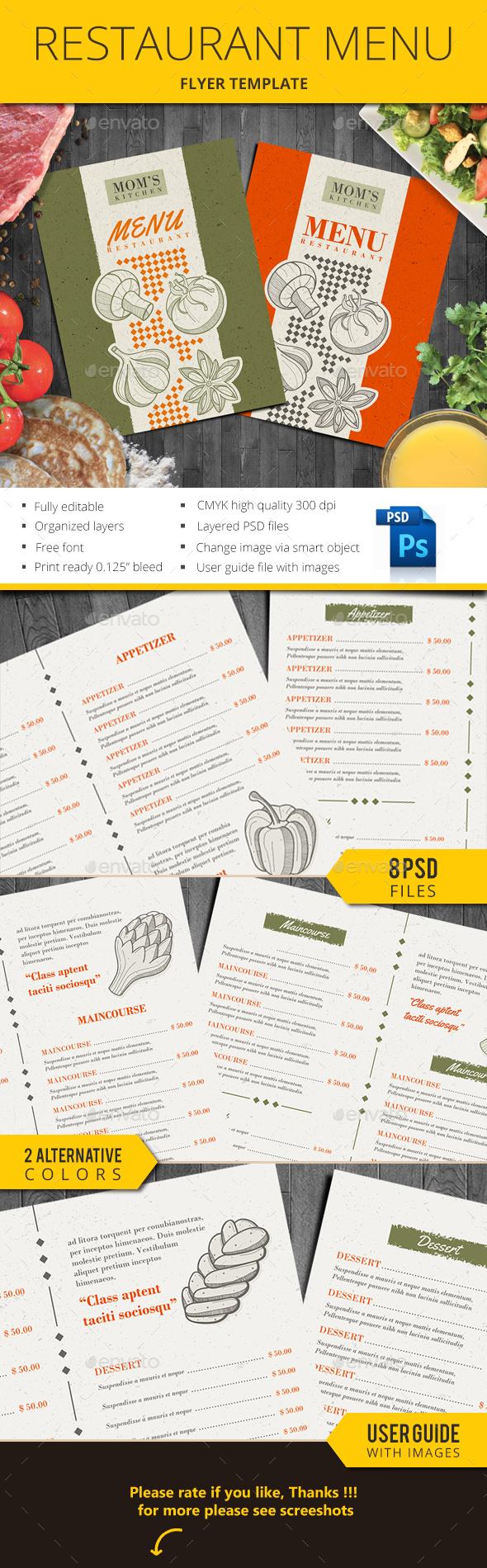Restaurant Menu Dua - Food Menus Print Templates