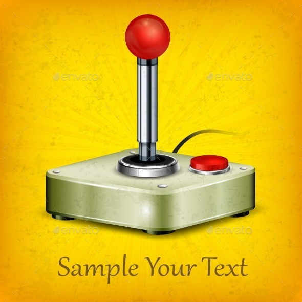 Retro Joystick on Yellow - Miscellaneous Vectors
