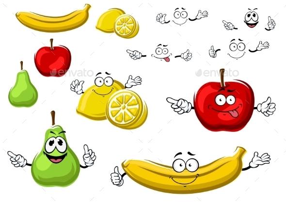 Cartoon Apple, Lemon, Banana, Pear Fruits - Food Objects