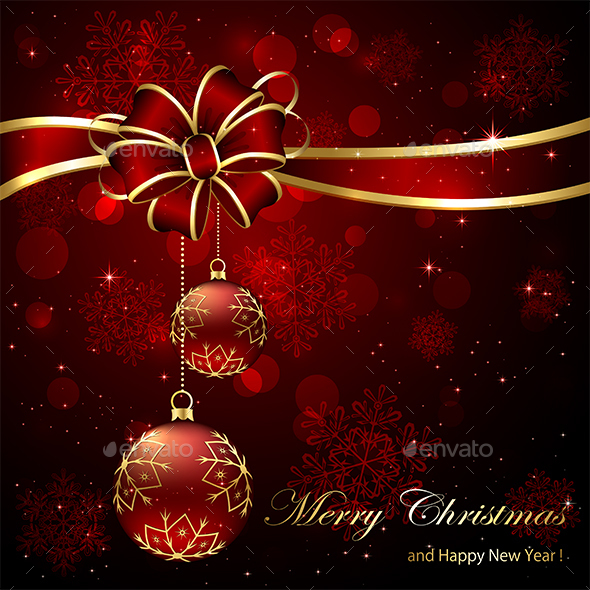 Christmas Background with Red Bow and Baubles - Christmas Seasons/Holidays