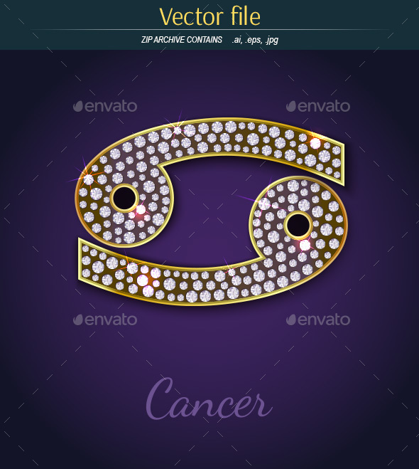 Jewelry Sign Cancer with Gold - Decorative Symbols Decorative