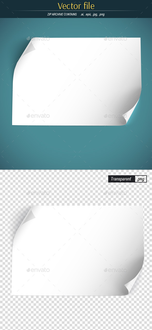 White Sheet of Paper with Curled Corners - Man-made Objects Objects