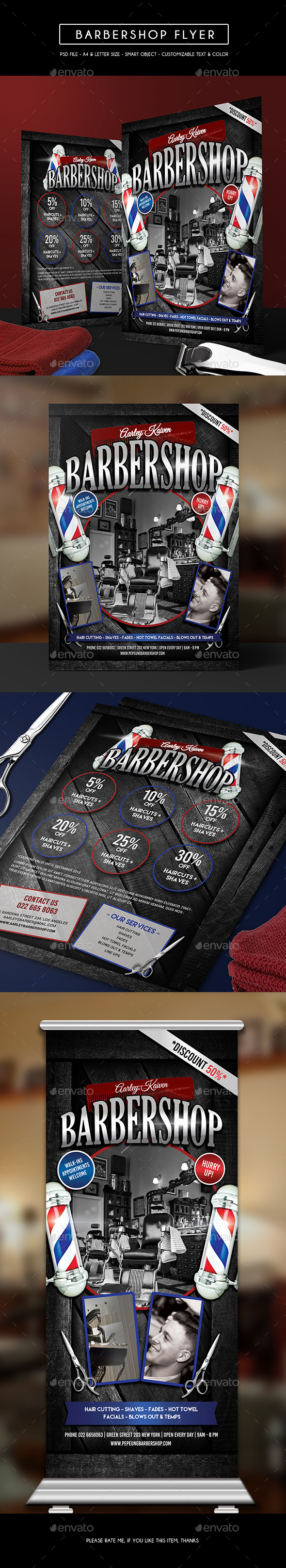 Barbershop Flyer + Roll Up Banner - Corporate Flyers
