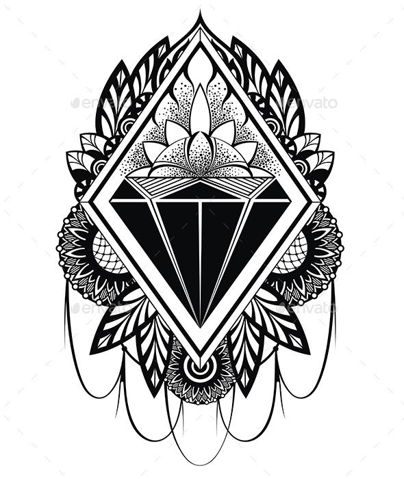 Diamond Tattoo - Tattoos Vectors