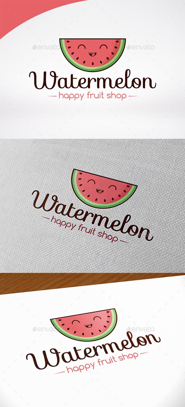 Happy Watermelon Logo Template - Food Logo Templates