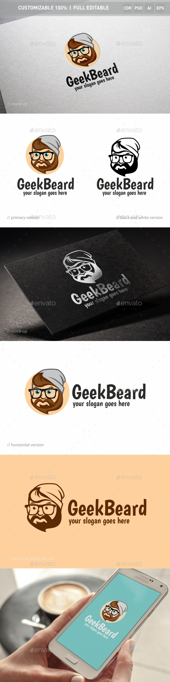 Geek Beard Logo Template  - Objects Logo Templates