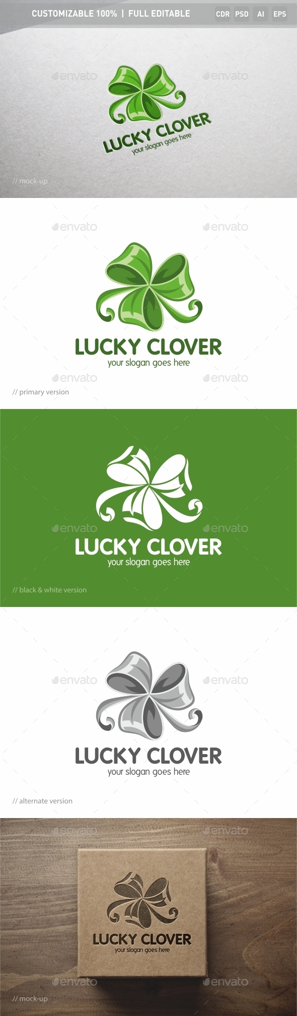 Lucky Clover Logo Template - Objects Logo Templates