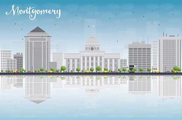 Montgomery Skyline with Gray Buildings - Buildings Objects