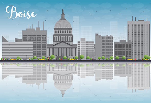 Boise Skyline with Gray Buildings - Buildings Objects