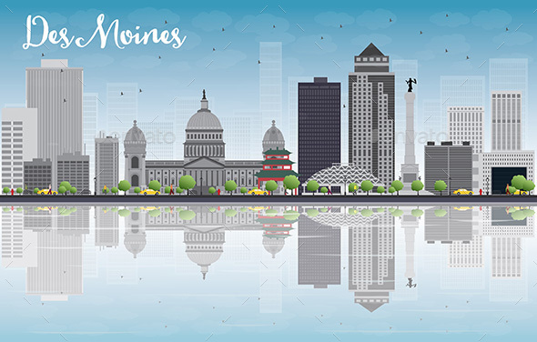 Des Moines Skyline with Gray Buildings - Buildings Objects