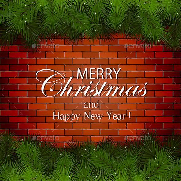 Inscription Merry Christmas on a Brick Wall - Christmas Seasons/Holidays
