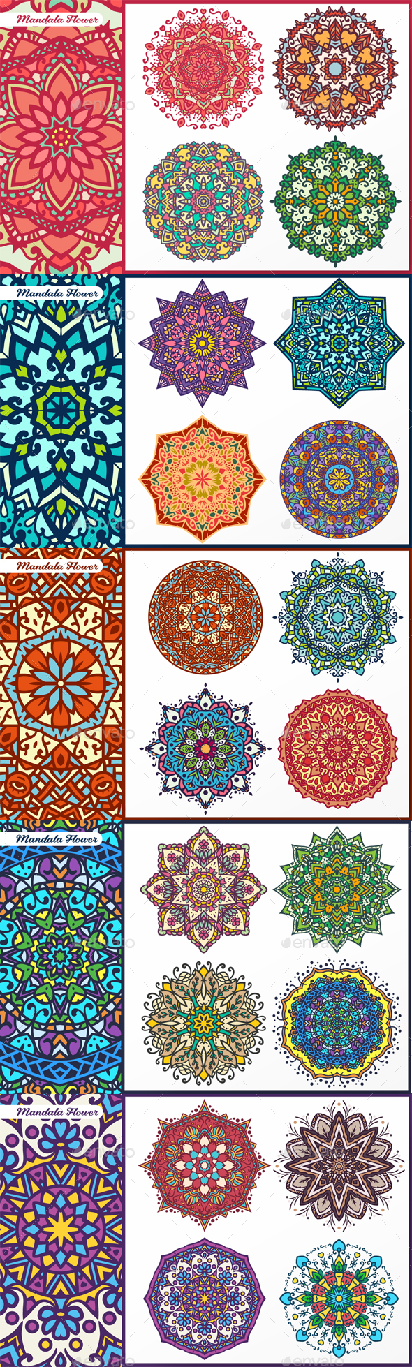 Abstract Flower and Mandala Set - Decorative Vectors