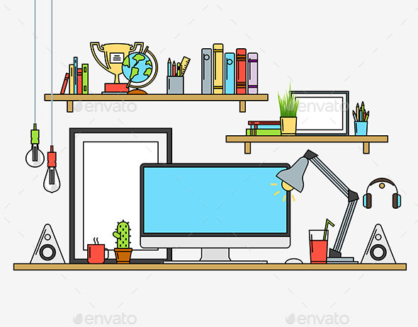 Line Flat Design Mock up of Modern Workspace - Computers Technology