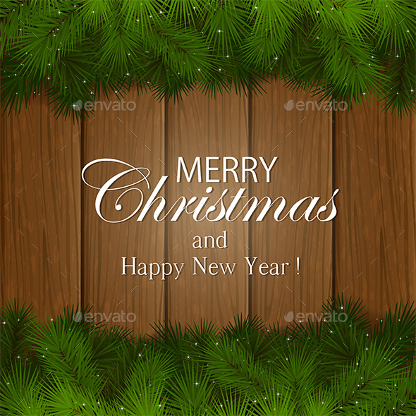 Inscription Merry Christmas on a Wooden Background - Christmas Seasons/Holidays